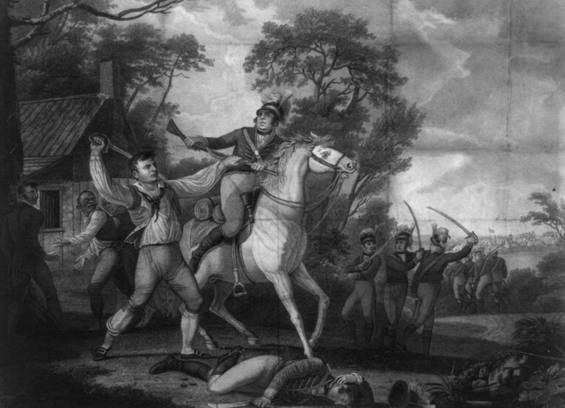 An Engraving showing the Virginia Hercules, Pedro / Peter Francisco (left), fighting with a British cavalry soldier in Amelia County, Virginia in July 1781. The engraving was created in 1814.