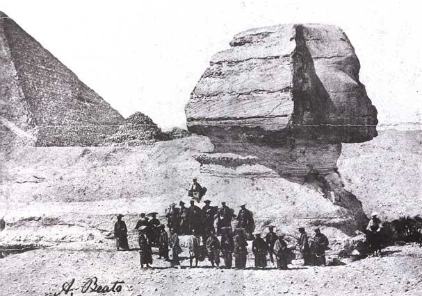 A group of Japanese samurai in traditional clothing infront of the Sphinx and near the pyramids in Giza, Egypt in 1864