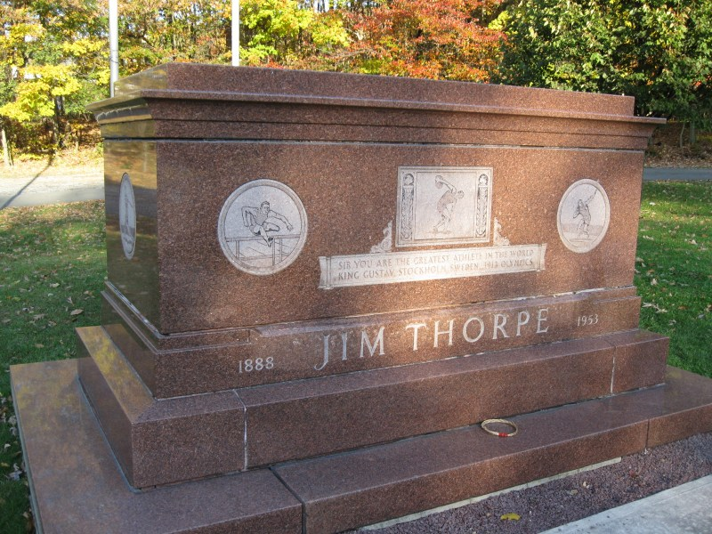 the memorial of Jim Thorpe located in Jim Thorpe Pennsylvania. It has his name in large letters and shows different sports he has taken part in.