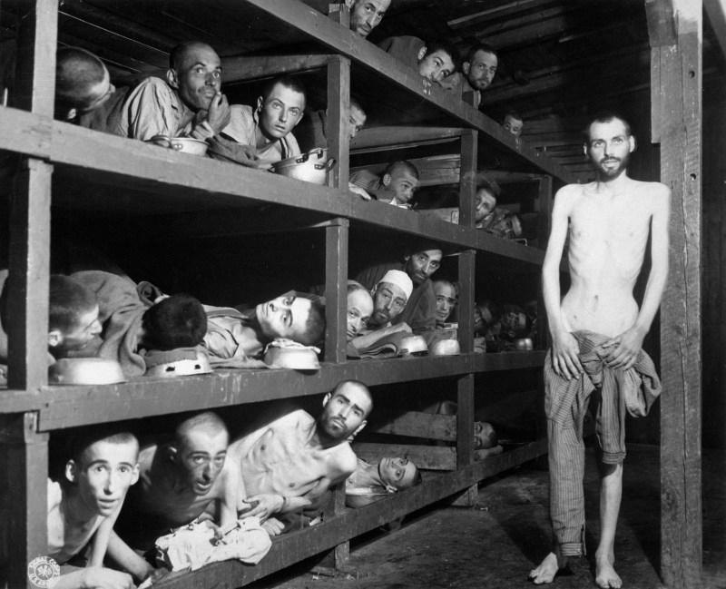 Prisoners that were held in Buchenwald concentration camp suffering from malnutrition photographed in April 1945
