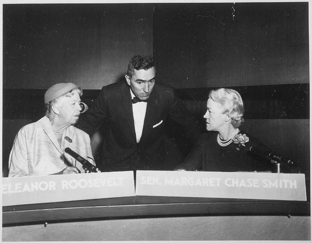 Eleanor Roosevelt facing off against Senator Margaret Chase Smith on the program Face the Nation in 1956.