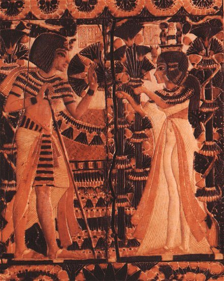 Tutankhamun with his wife and half-sister Ankhesenamun. Ankhesenamun is also believed to have been married to her father, and also to her maternal grandfather after the death of Tutankhamun.