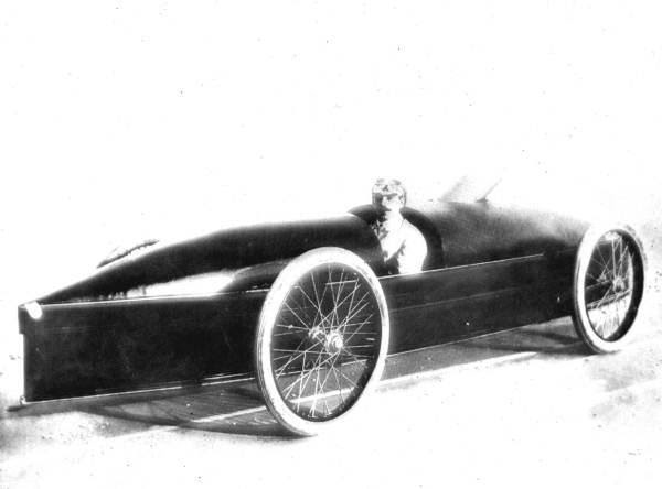 Fred Marriott sitting in the Stanley Steam Carriage Co. steam car which set the land speed record in 1906.