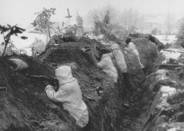 Trenches on the Mannerheim Line in the Winter War