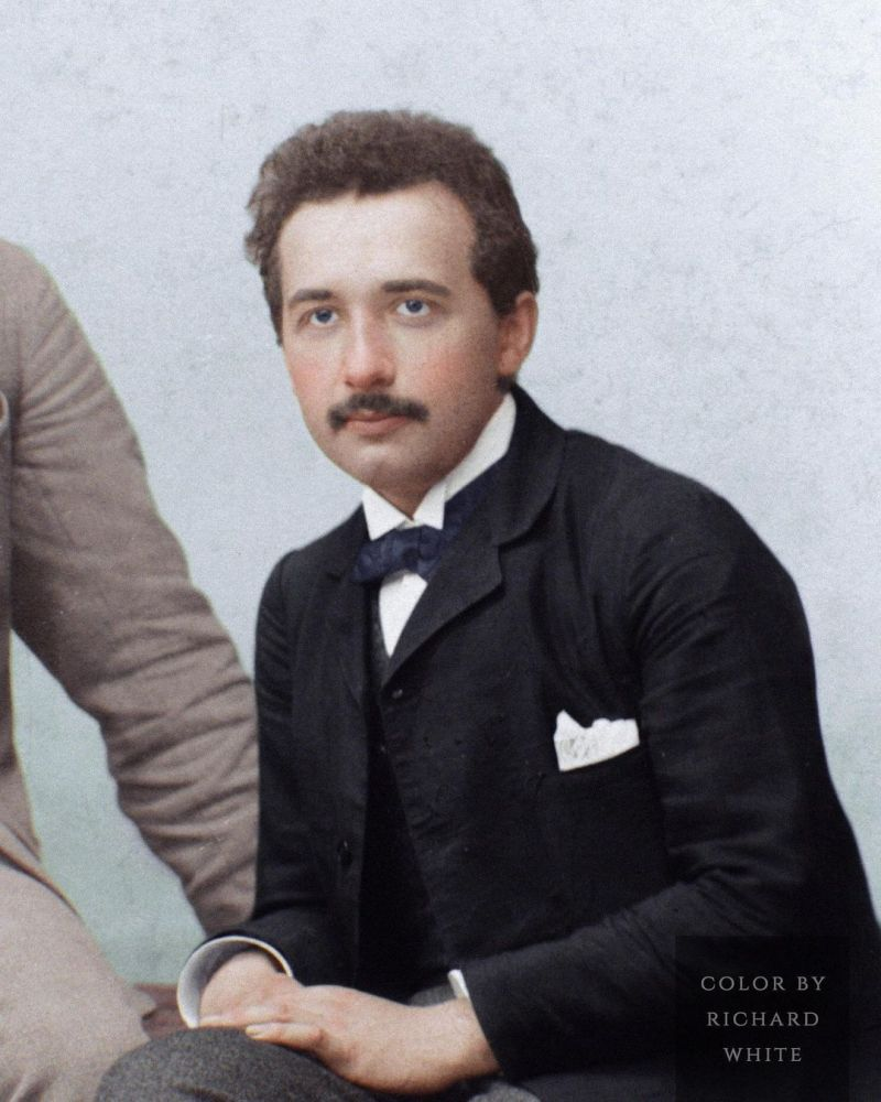 Color Photograph of Albert Einstein in a suit at the age of 24 in Switzerland in 1903.