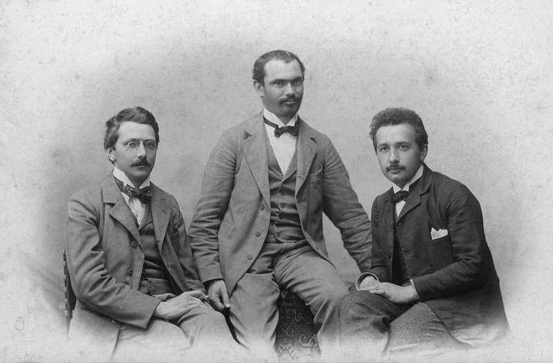 Albert Einstein with friends Conrad Habicht and Maurice Solovine, ca. 1903 I believe this photo is in the public domain because it's from 1903.