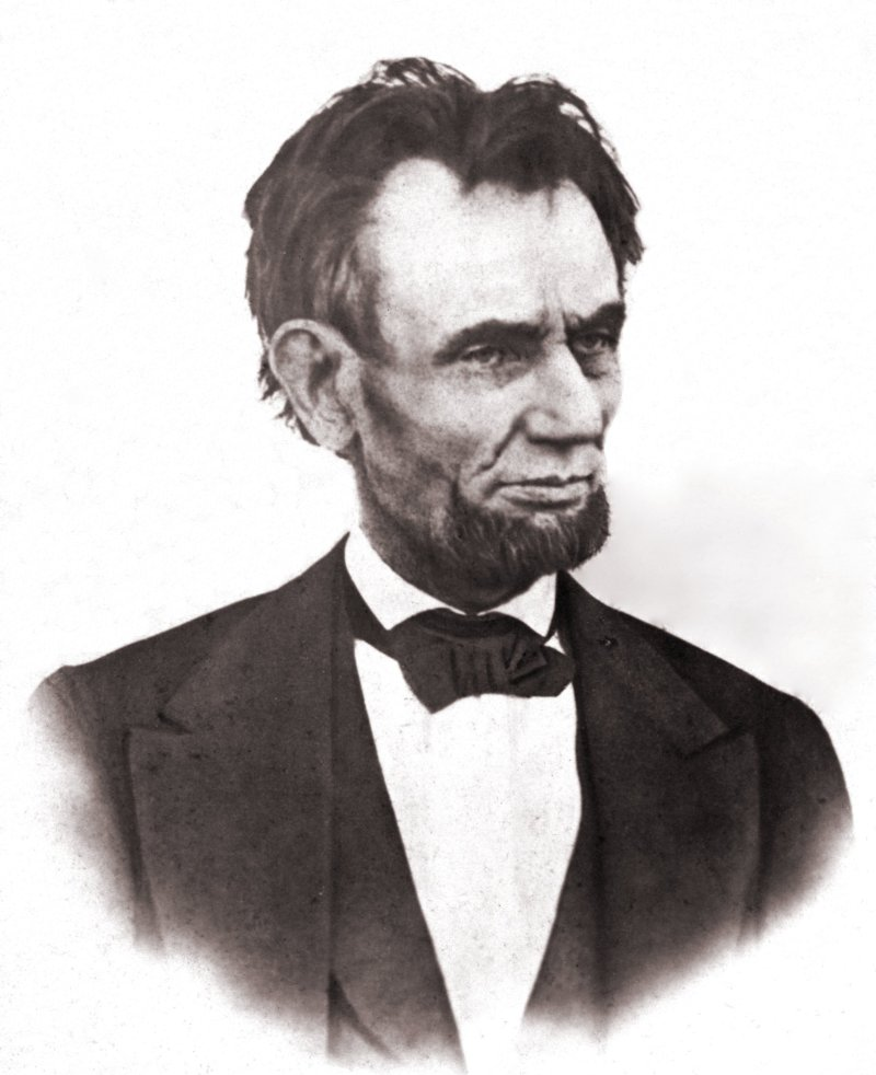 Black and White photograph of President Abraham Lincoln when he was 56 years old. The last photo of him alive.