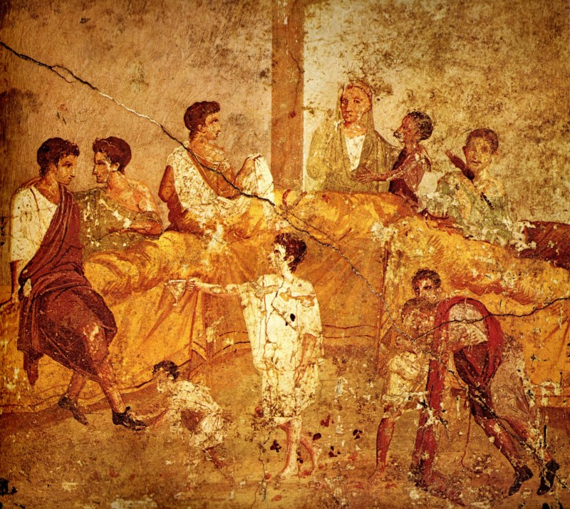 Wall painting (1st century AD) from Pompeii depicting a multigenerational banquet. Museo Archeologico Nazionale, Naples
