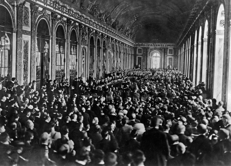 Treaty of Versailles treaty signing in the year 1919.
