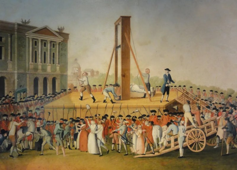 The execution of Marie Antoinette during the French Revolution