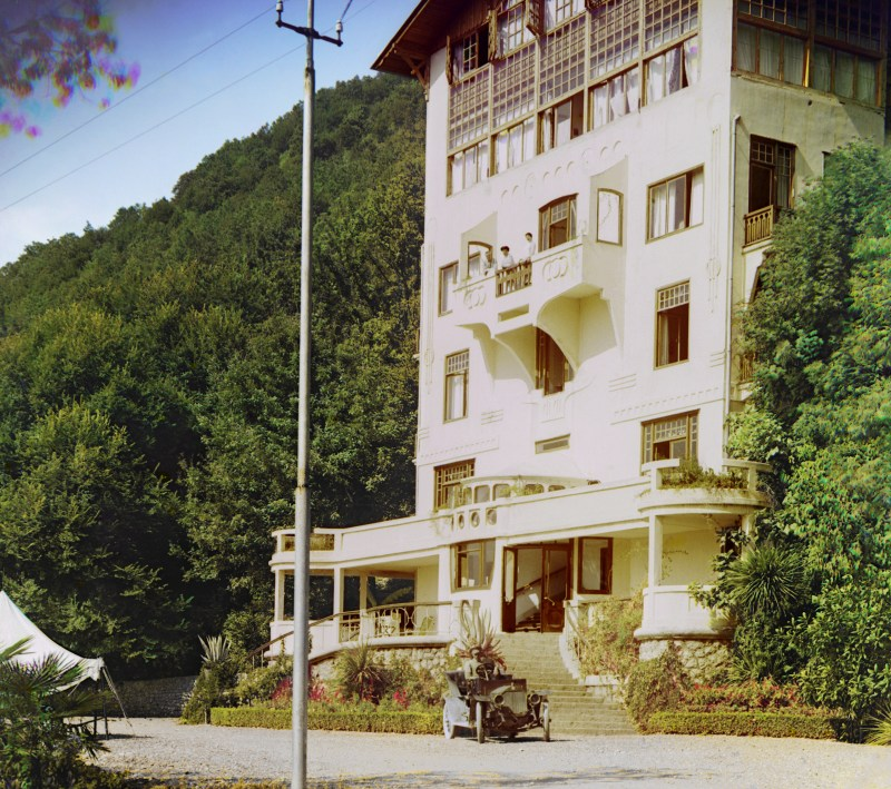 Color photo of a hotel in Gagra