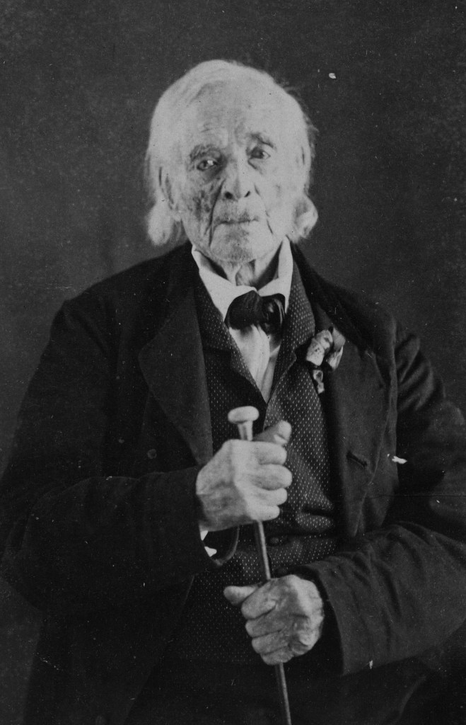 100-year-old William Hutchings, Revolutionary War veteran photographed in 1864.