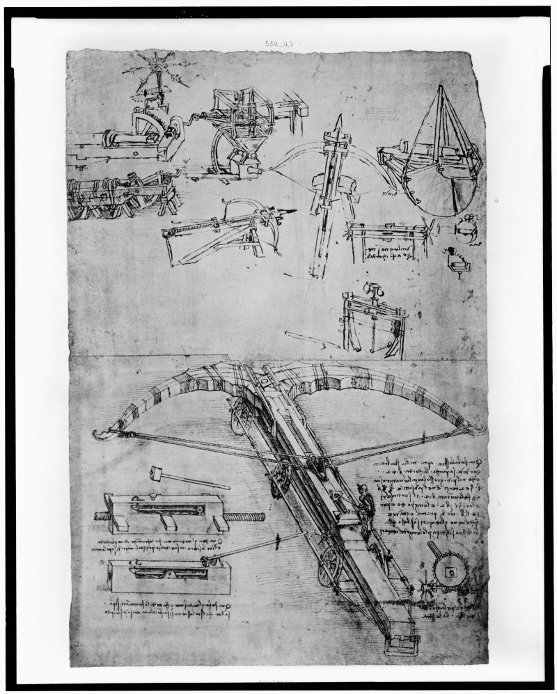 Illustrations of a crossbow from Da Vinci's notebook