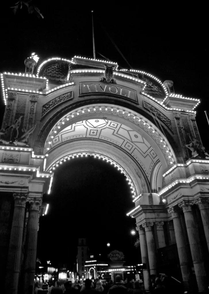 Tivoli Gardens entrance Black and White in Copenhagen, Denmark
