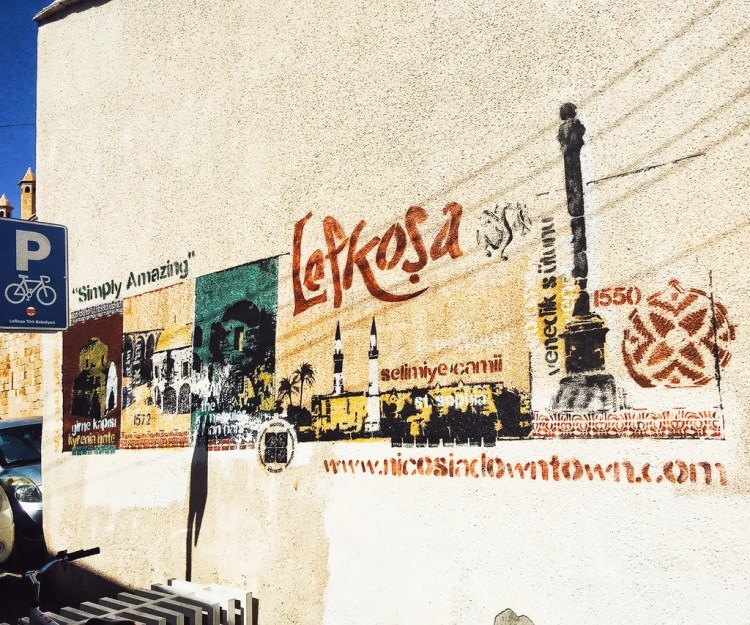 A commissioned piece showing the pride and highlights of northern Nicosia. Nicosia is also called Lefkosia. Lefkosa is the Turkish name for the city.