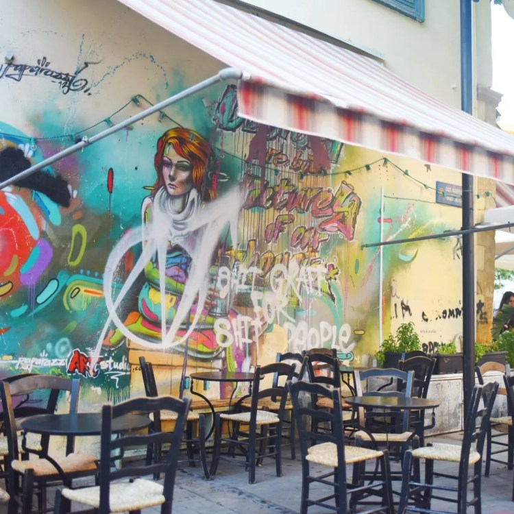 A mural adorning a cafe in Nicosia