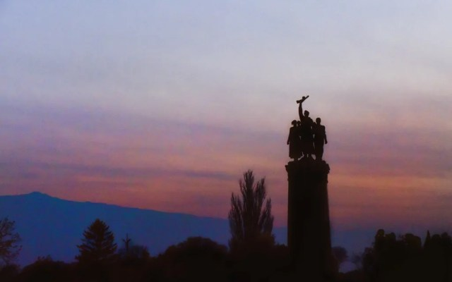 Dusk at the Monument to the Soviet Army in Sofia
