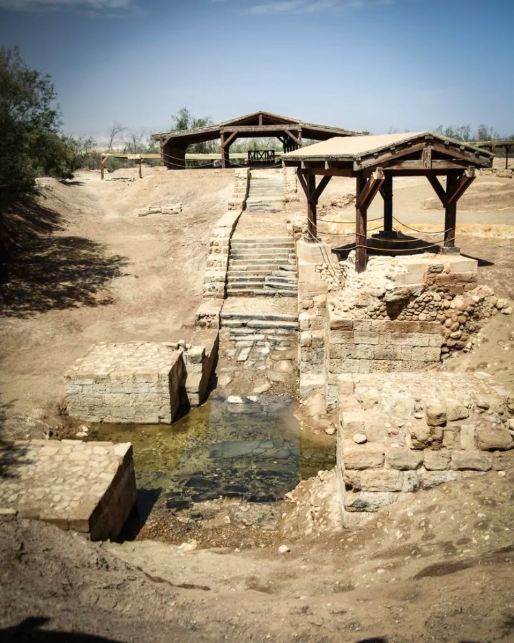 The official baptism site of Jesus, a little ways away from where the Jordan River flows today