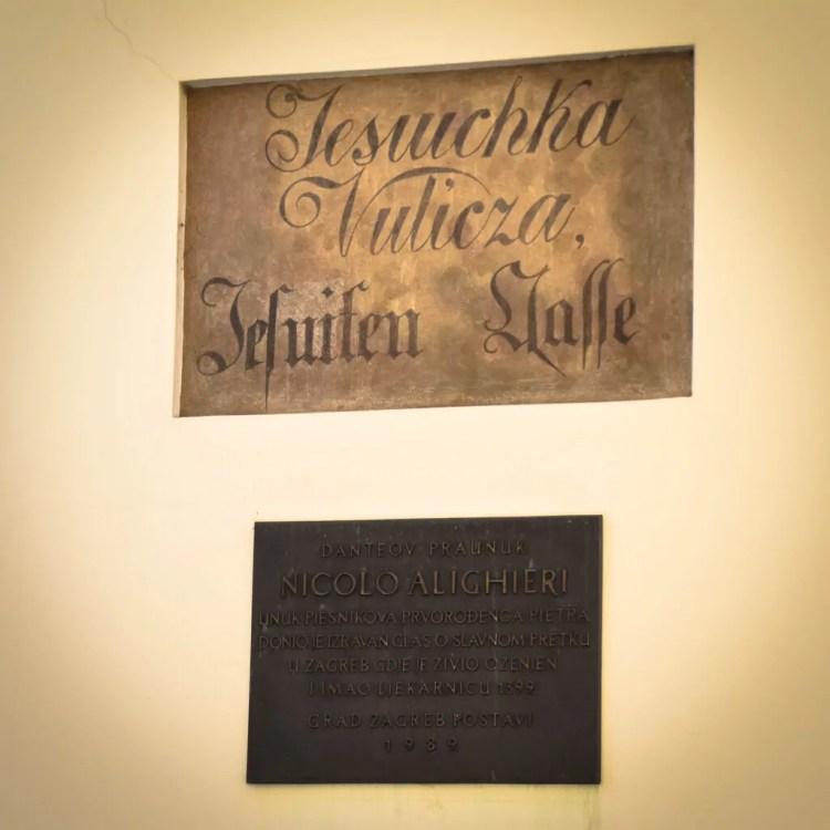 Plaque dedicated to Niccolo Alighieri