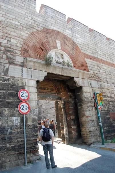 Looking up at the Theodosian Walls