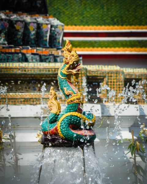 A dragon fountain at Wat Arun