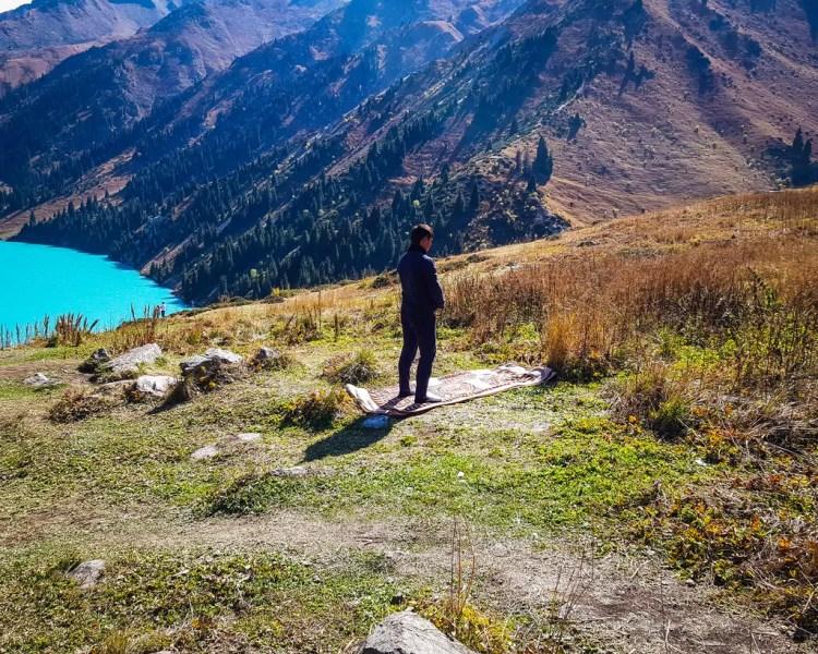 A Kazakh Muslim praying at Big Almaty Lake