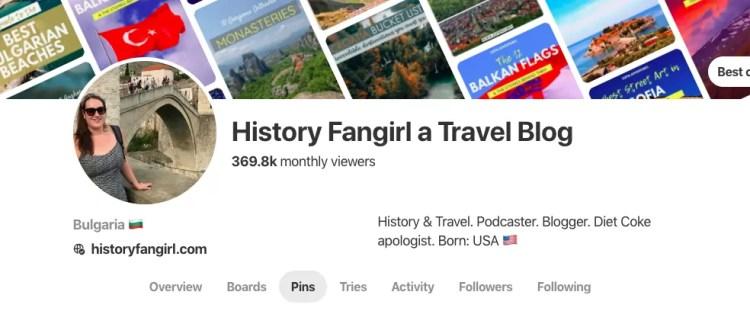 History Fangirl Pinterest Account