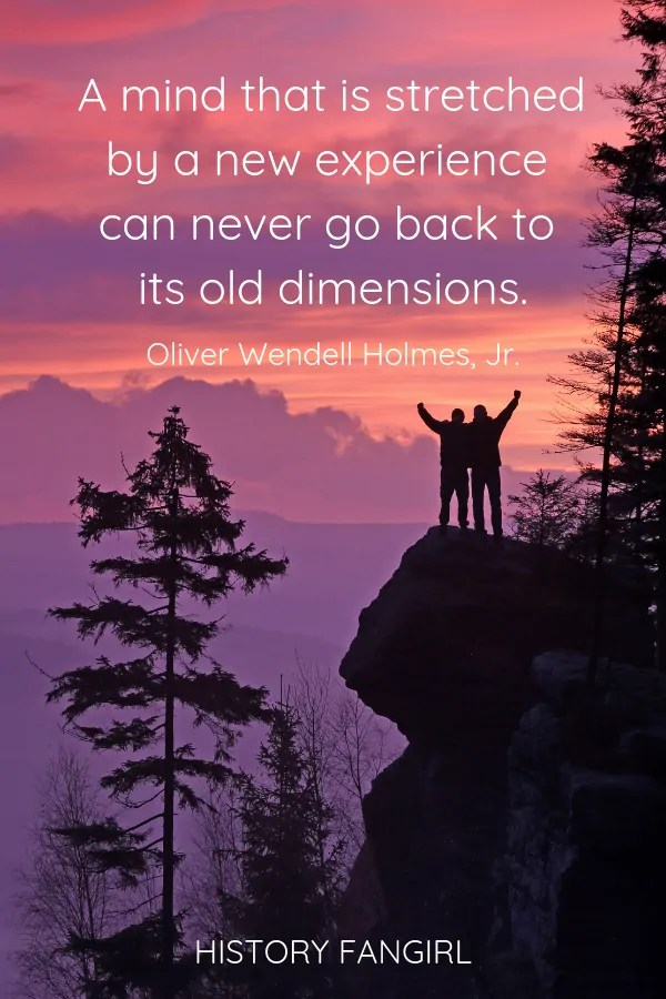 A mind that is stretched by a new experience can never go back to its old dimensions. Oliver Wendell Holmes, Jr. quotes on travelling