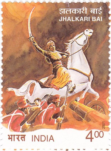 The Government of India's Post and Telegraph Department has issued a postal stamp depicting Jhalkaribai.