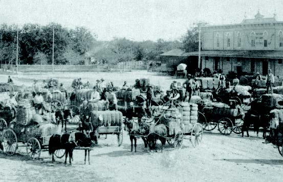 Cotton market on Main Plaza, 1890.