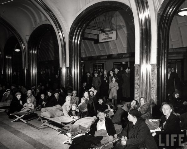 What Did  People Sheltering In Mayakovsky Subway Station and An Air Raid Look Like   Ago