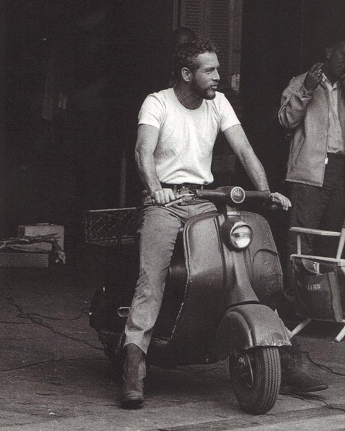 Fascinating Historical Picture of Paul Newman with Lambretta in 1959