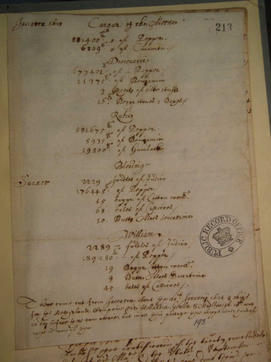 Note of cargo of the Moon Jacarta, Oct 1625