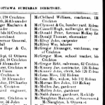 McElroy in the 1881 Ottawa City Directory. Earlier directories did not give the suburban areas the same street-by-street treatment as Ottawa proper.