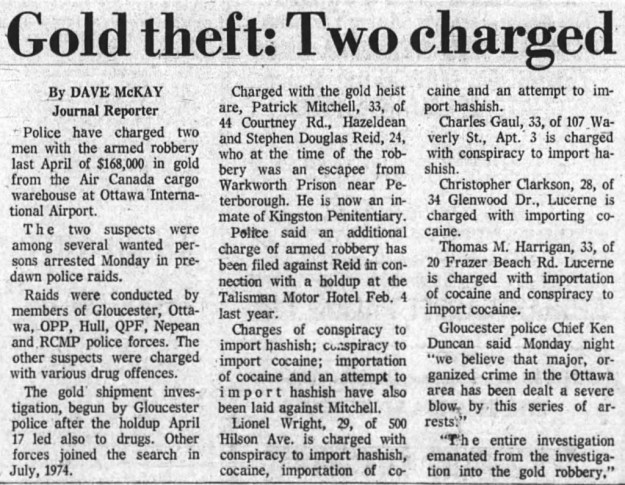 Gaul involved with crimes larger than the petty thefts he was previously involved in. Source: Ottawa Journal, March 5, 1975.