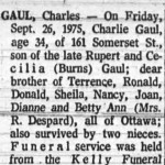 Gaul's death notice, published in the Journal, October 1, 1975.