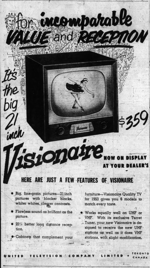 "United Television's advertisement for their 21"" Visionaire. Source: Ottawa Journal, May 26, 1953."