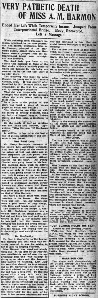 The reporting on Miss Harmon's suicide was extensive. Source: Ottawa Journal, September 20, 1904.