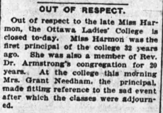 Ottawa Ladies' College closed for the day. Source: Ottawa Journal, September 21, 1904.