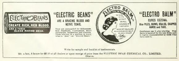"Advertisement in Canadian Druggist. Electric Beans weren't the only medicinal product in the company's catalogue. ""Electric"" appears to be the Edwardian/Georgian equivalent to ""Extreme"", ""Pro"", or ""i"". Source: Canadian Druggist, January 1911."