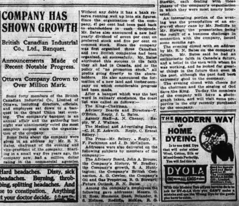 British Canadian's future looked bright in those early days. After their first year, expansion plans were made. Source: Ottawa Journal, May 23, 1911.