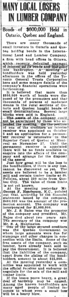 Details of the International Land and Lumber Co's position in 1923. Source: Ottawa Journal, November 21, 1923.