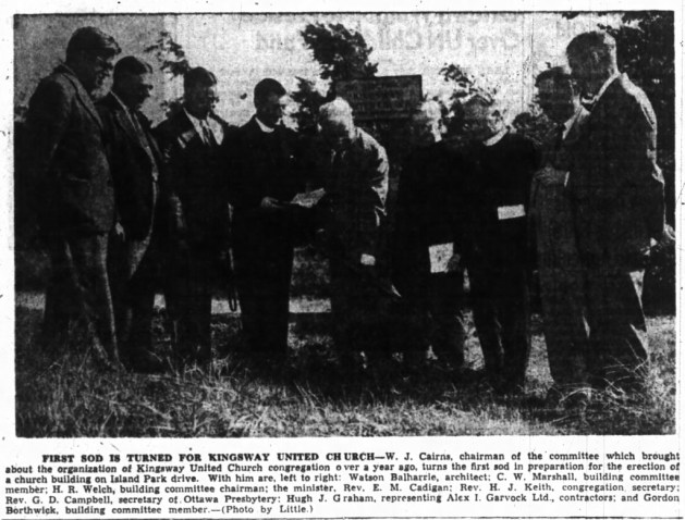 The sod turning ceremony took place in July of 1948. Balharrie is pictured to the left. Source: Ottawa Journal, July 3, 1948.