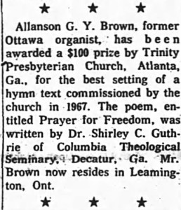 $100 from Trinity Presbyterian in Atlanta, Georgia. Source: Ottawa Journal, January 25, 1969.