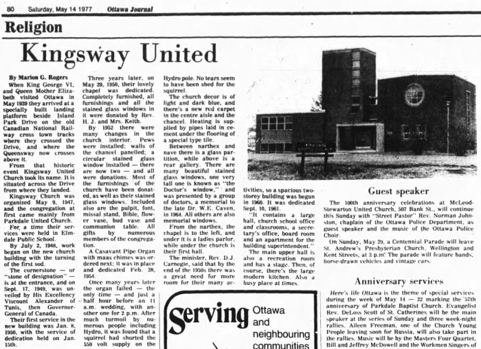 A 1977 profile of Kingsway United. Source: Ottawa Journal, May 14, 1977.