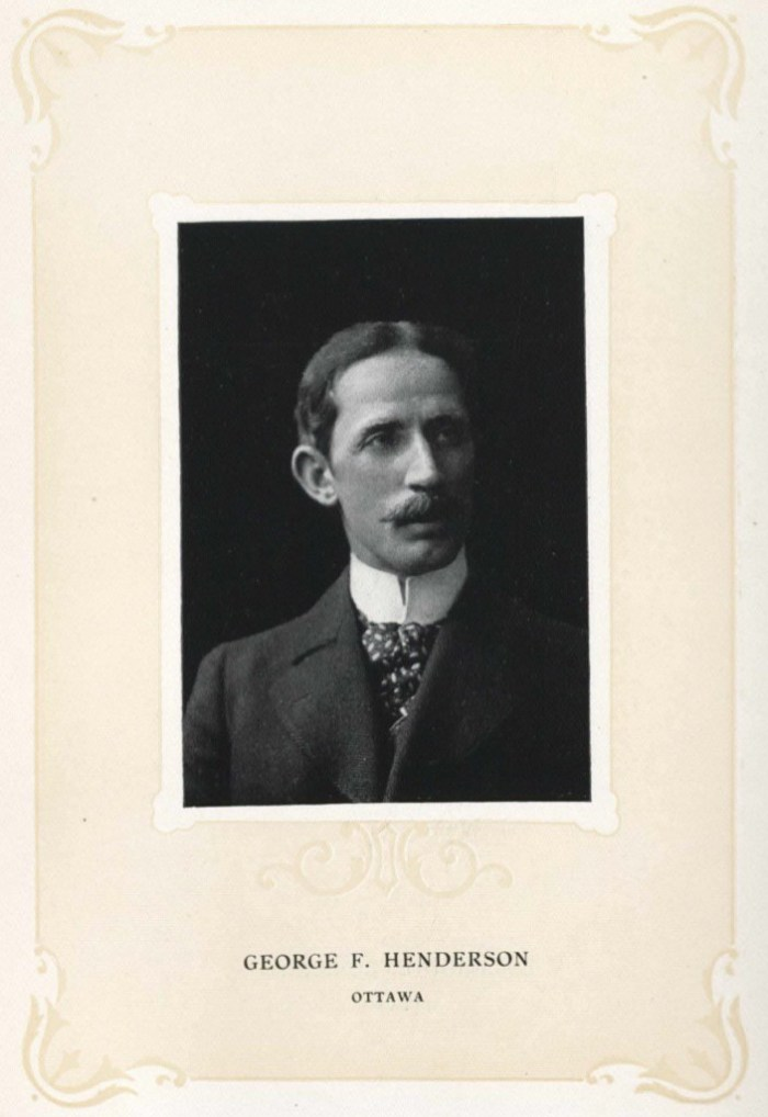 "George F. Henderson in 1905. Established, Vital, a Legal Eagle if there ever was one. Source: Wilkie, Cooper, and Benedict (eds) ""The Bench and the Bar of Ontario."" Toronto: Brown-Searle Printing Co. 1905, p. 204."