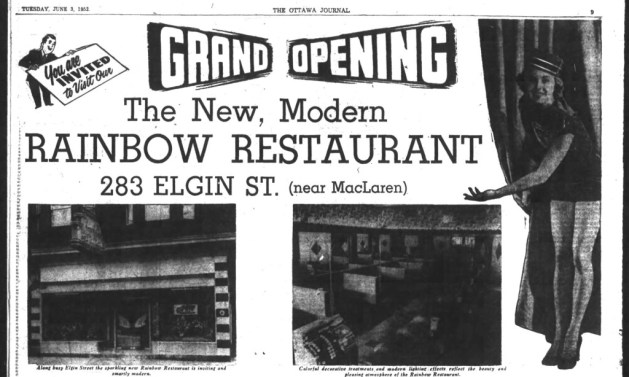 Today's Fox and Feather was yesterday's Rainbow Restaurant. If you look at the space between the two bay windows, you can see where the Rainbow's neon sigh was anchored to the wall. Source: Ottawa Journal, June 3, 1952.