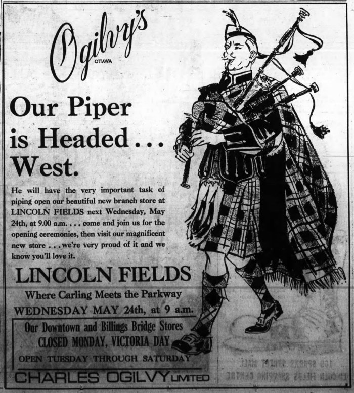 Follow Ogilvy's piper down to Lincoln Fields. True to projections, the mall was completed by the spring of 1972 and set to open on May 24. Source: Ottawa Journal, May 20, 1972.