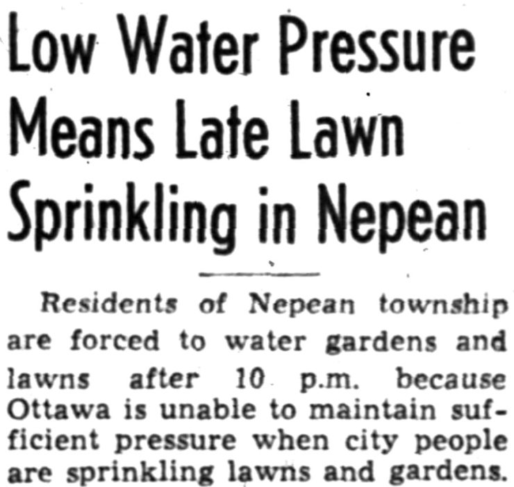 Sorry Nepean, your proud midcentury lawns will be golden rather than emerald. Source: Ottawa Journal, July 8, 1948, Page 30.