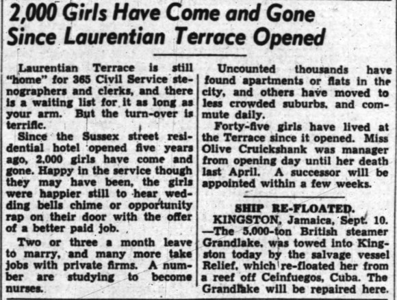 Laurentian Terrace: a popular choice. Source: Ottawa Journal, September 11, 1948, Page 3.